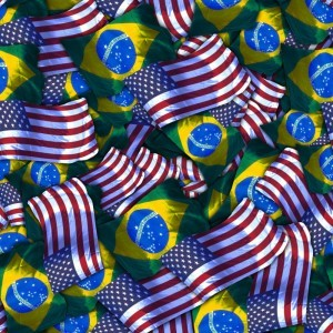 US and Brazil Flags