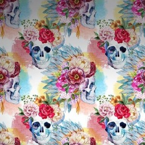 Watercolor Flower Skulls